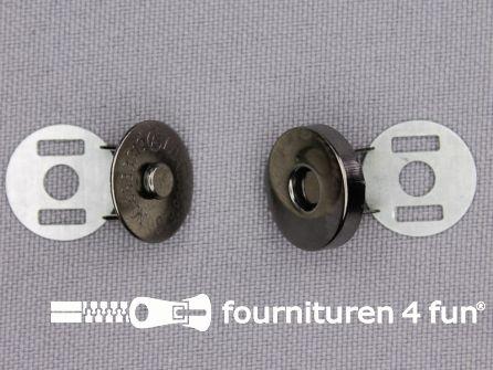 Magneet knopen 14mm buig zwart zilver per stuk