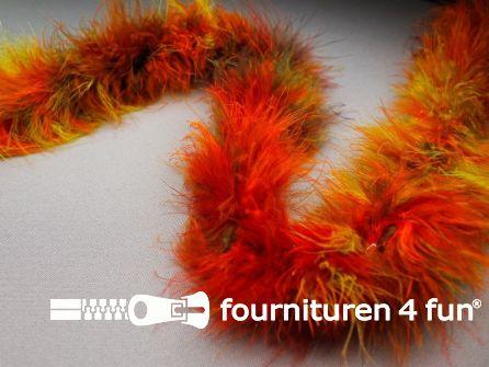 Maraboe multicolor oranje - rood - groen 180cm