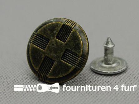 Jeansknopen 15mm oud brons