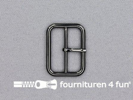 Metalen gesp 25mm glimmend zwart