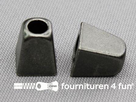 Metalen koord uiteinde 13x11mm oud zilver