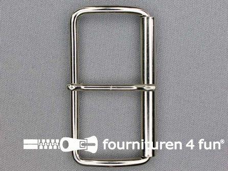 Metalen rolgesp 60mm zilver