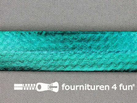 Metallic biasband 20mm turquoise groen