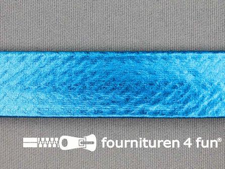 Rol 20 meter metallic biasband 20mm aqua blauw