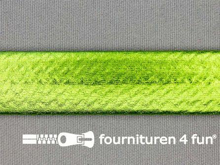Rol 20 meter metallic biasband 20mm lime groen