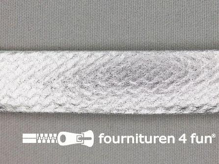 Rol 20 meter metallic biasband 20mm zilver