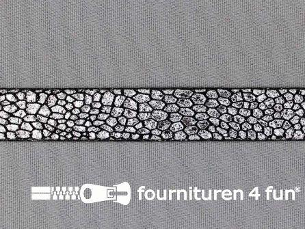 Metallic steampunk band 15 mm zwart - zilver