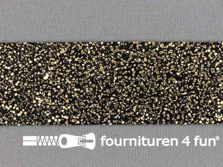 Metallic steampunk band 30mm zwart - goud