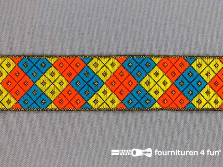 Modern band 25mm multicolor geruit - goud