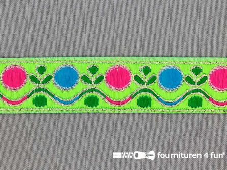 Modern band 25mm multicolor neon groen - goud