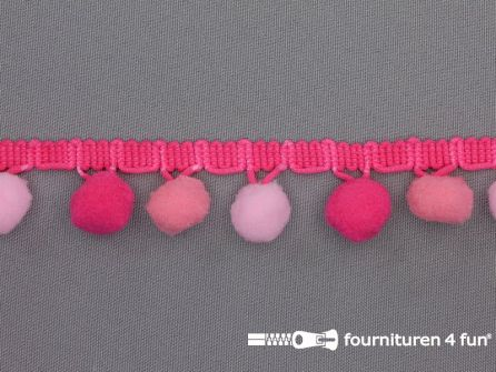 Bolletjesband 30mm multicolor roze - fuchsia