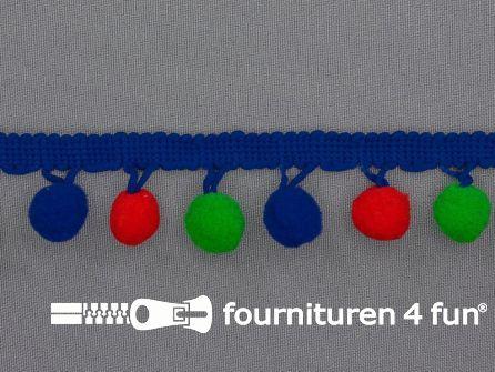 Bolletjesband 30mm multicolor rood - groen - blauw