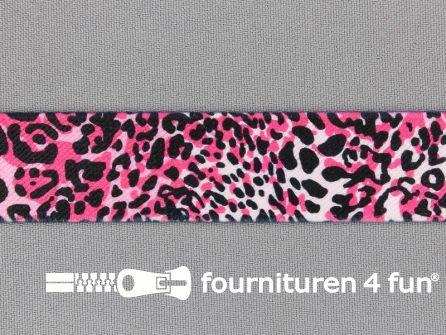 Elastiek met luipaard motief 25mm zwart - roze