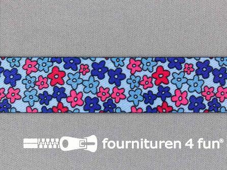 Elastiek met bloemetjes 25mm blauw - rood