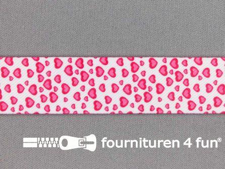 Elastiek met hartjes 25mm roze - wit