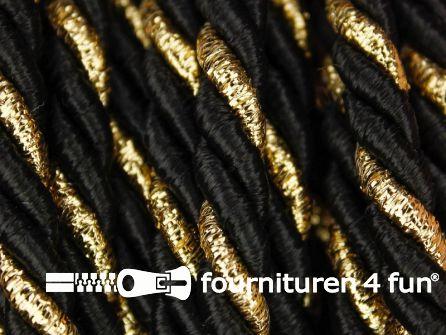 Rol 5 meter multicolor meubelkoord 7mm zwart - goud