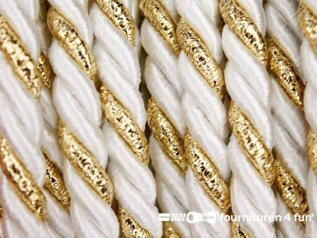 Rol 5 meter multicolor meubelkoord 7mm wit - goud
