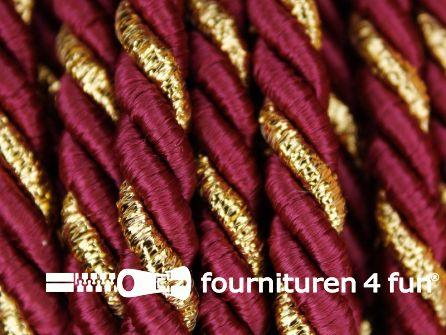Rol 5 meter multicolor meubelkoord 7mm bordeaux - goud
