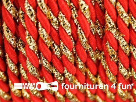Rol 10 meter multicolor meubelkoord 3mm oranje/rood - goud