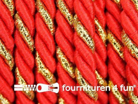 Rol 5 meter multicolor meubelkoord 7mm oranje/rood - goud