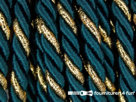 Rol 5 meter multicolor meubelkoord 7mm flessen groen - goud