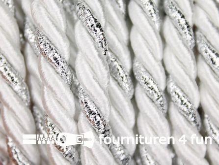 Rol 5 meter multicolor meubelkoord 7mm wit - zilver