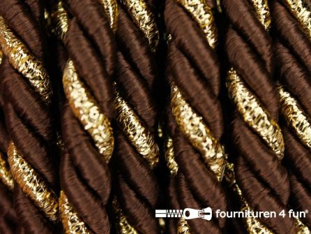 Rol 5 meter multicolor meubelkoord 7mm bruin - goud