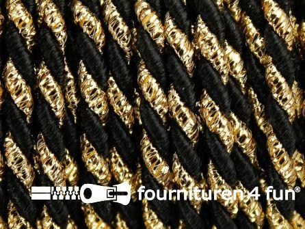 Rol 10 meter multicolor meubelkoord 3mm zwart - goud