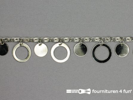 Muntenband - Sierketting - 25mm zilver
