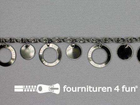 Muntenband - Sierketting - 25mm zwart zilver