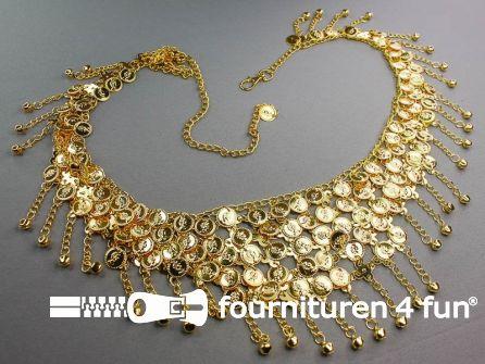 Muntenband - Buikdans ketting met muntjes 110cm goud