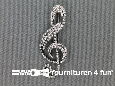 Strass corsage 53x22mm muziek - solsleutel zilver
