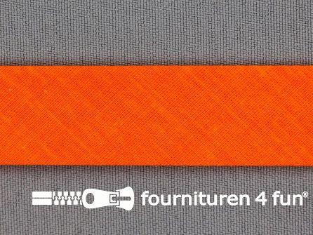 Katoenen biasband 20mm neon oranje