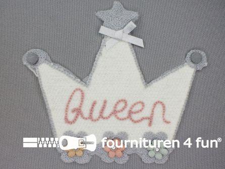 """Quilt applicatie 160x145mm kroontje - """"Queen"""""""