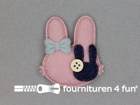 Quilt applicatie 50x46mm konijntje - oud roze - blauw
