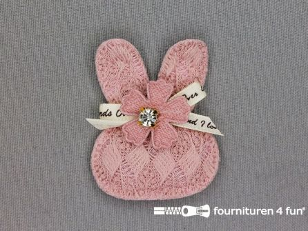 Quilt applicatie 53x42mm konijntje - oud roze