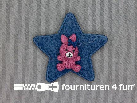 Quilt applicatie 45x45mm ster met beertje - jeans blauw - oud roze