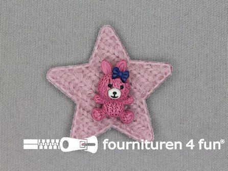 Quilt applicatie 45x45mm ster met beertje - oud roze