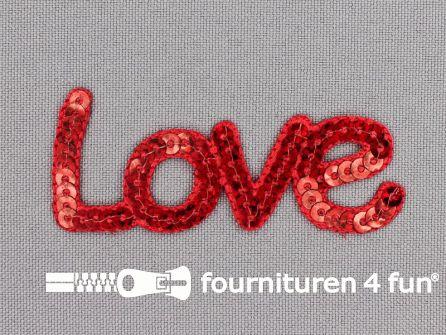 Pailletten applicatie 65x27mm 'Love' rood