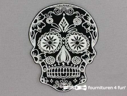 Applicatie 75x95mm Mexican skull zwart/wit