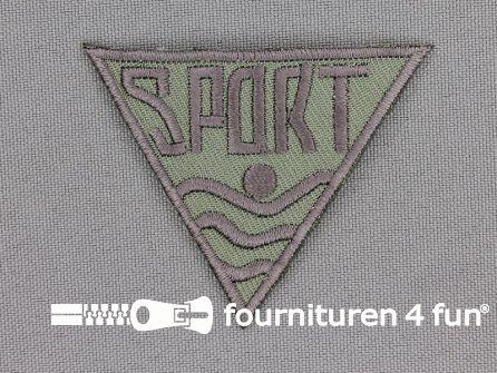 Applicatie 56x48mm 'Sport' grijs - olijf groen
