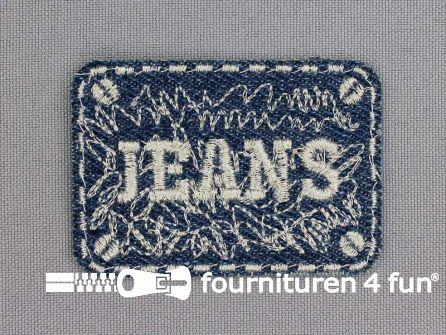 Applicatie 60x40mm 'Jeans' blauw - zilver