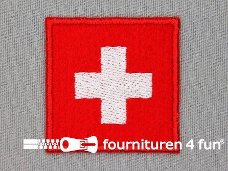Stoere applicatie 41x41mm Zwitserse vlag
