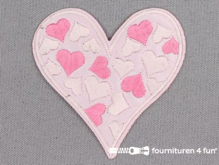 Applicatie 60x60mm roze hart met hartjes
