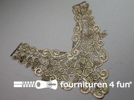 Opzet stuk voor hals / kraag  zwart goud bloem 310x300mm