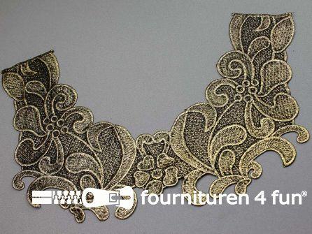 Opzet stuk voor hals / kraag  zwart goud bloem 340x210mm