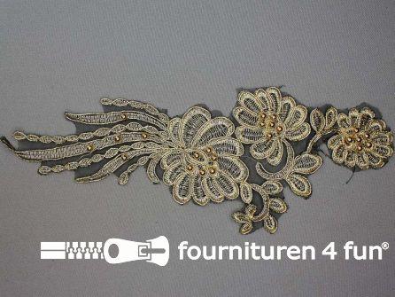 Opzet stuk voor hals / kraag  zwart goud bloem 285x100mm