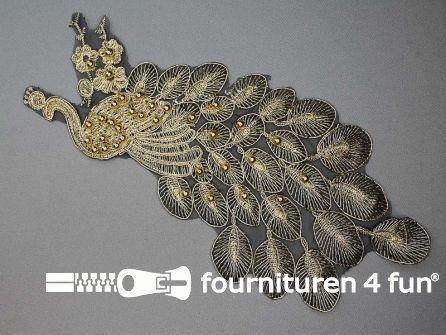 Opzet stuk voor hals / kraag  zwart goud pauw 295x140mm