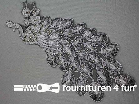 Opzet stuk voor hals / kraag  zwart zilver pauw 295x140mm