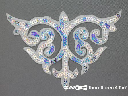 Pailletten applicatie 107x155mm zilver - wit hologram